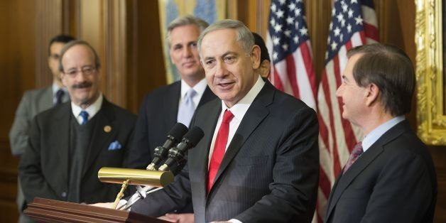 Israeli Prime Minister Benjamin Netanyahu (C) talks with congressional leadership on Capitol Hill in Washington, DC, March 3,