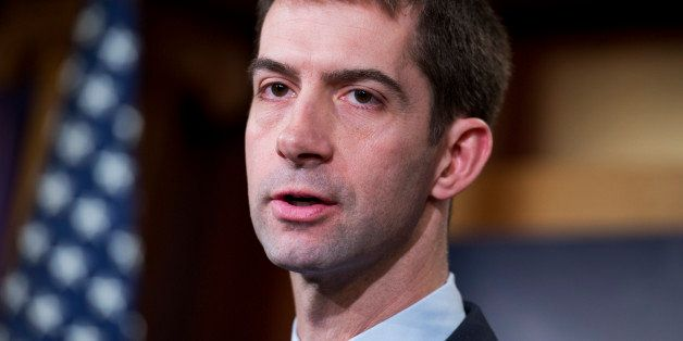 UNITED STATES - FEBRUARY 05: Sen. Tom Cotton, R-Ark., speaks during a news conference in the Capitol's Senate studio on the p