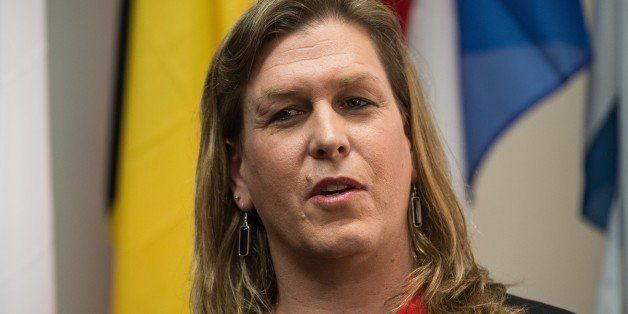 Transgender former US Navy Seal Senior Chief Kristin Beck speaks during a conference entitled 'Perspectives on Transgender Mi