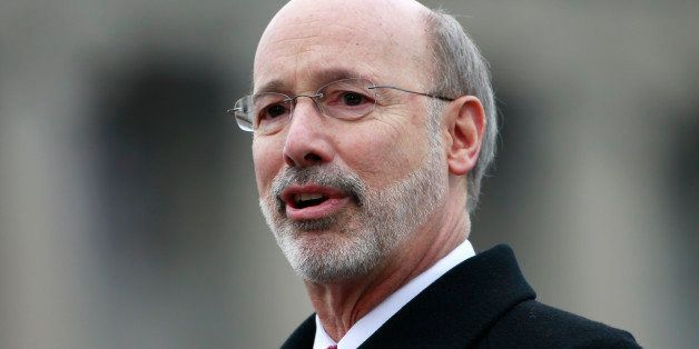 Gov. Tom Wolf speaks after he took the oath of office to become the 47th governor of Pennsylvania, Tuesday, Jan. 20, 2015, at