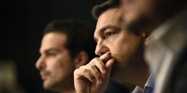 Greek Prime Minister Alexis Tsipras gives a press conference during the European Council Summit at the European Union (EU) He