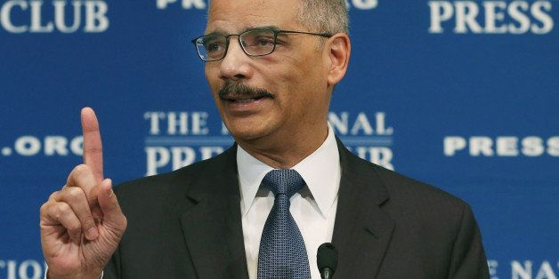 WASHINGTON, DC - FEBRUARY 17:  Attorney General Eric Holder speaks at the National Press Club Newsmaker Luncheon February 17,