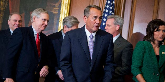 UNITED STATES - FEBRUARY 13: From left, House Majority Whip Steve Scalise, R-La., Senate Majority Leader Mitch McConnell, R-K