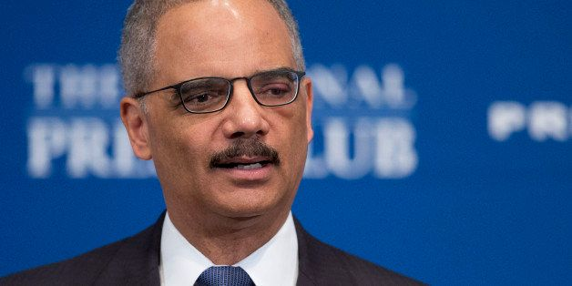 Attorney General Eric Holder speaks at the National Press Club in Washington, Tuesday, Feb. 17, 2015. The Obama administratio