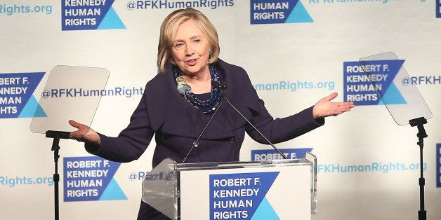 NEW YORK, NY - DECEMBER 16:  Hillary Rodham Clinton speaks at the 2014 Robert F. Kennedy Ripple of Hope Gala at New York Hilt