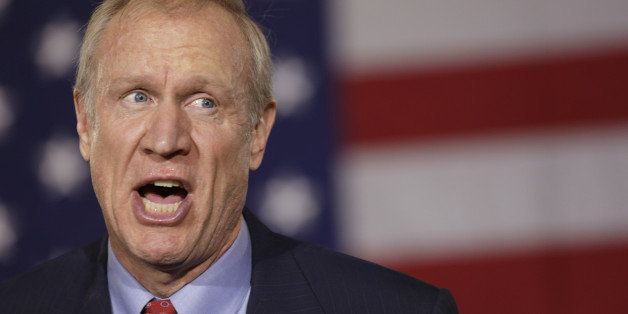 CHICAGO, IL - NOVEMBER 4: Republican gubernatorial candidate Bruce Rauner declares victory during his election night gatherin