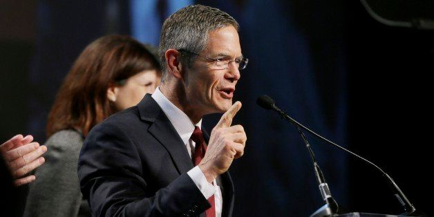 Michigan Democratic gubernatorial candidate Mark Schauer addresses supporters during his concession speech at an election nig