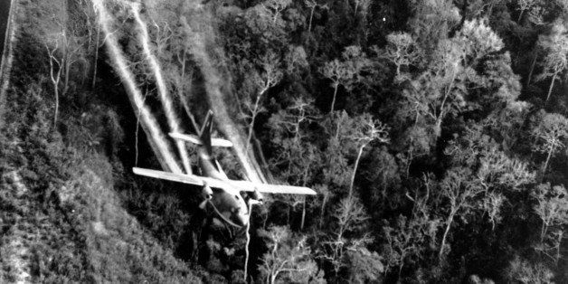 A U.S. Air Force C-123 flies low along a South Vietnamese highway spraying defoliants on dense jungle growth beside the road