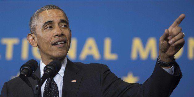 US President Barack Obama speaks at Gwendolyn Brooks College Preparatory Academy in  Chicago, Illinois, February 19, 2015. Ob