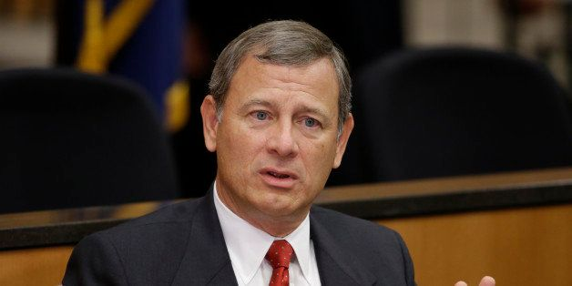 FILE - In this Sept. 19, 2014 file photo, Chief Justice John Roberts speaks at the University of Nebraska Lincoln in Lincoln,