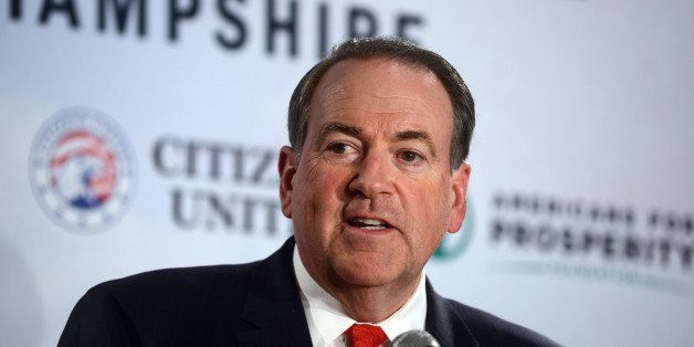 MANCHESTER, NH - APRIL 12: Former Arkansas Governor Mike Huckabee speaks at the Freedom Summit at The Executive Court Banquet