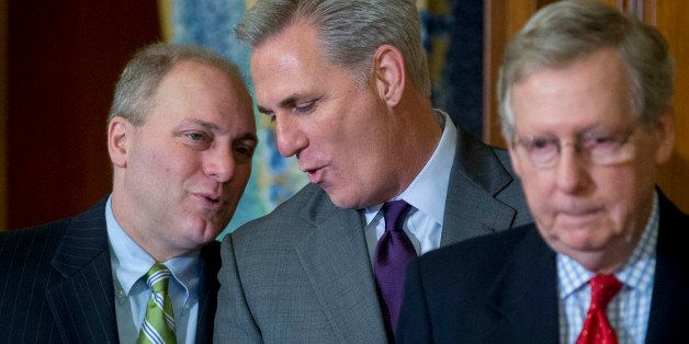 House Majority Leader Kevin McCarthy, a Republican from California, center, talks to House Majority Whip Steve Scalise, a Rep