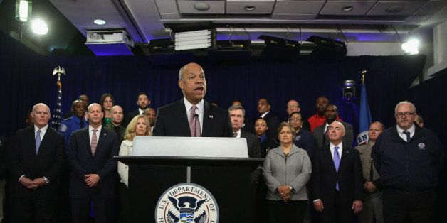 WASHINGTON, DC - FEBRUARY 23:  U.S. Secretary of Homeland Security Jeh Johnson speaks as employees of the Homeland Security D