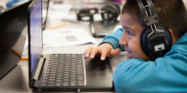 SAN JOSE, CA - FEBRUARY 18: A students works on a computer in the lab at Rocketship SI Se Puede, a charter, public elementary