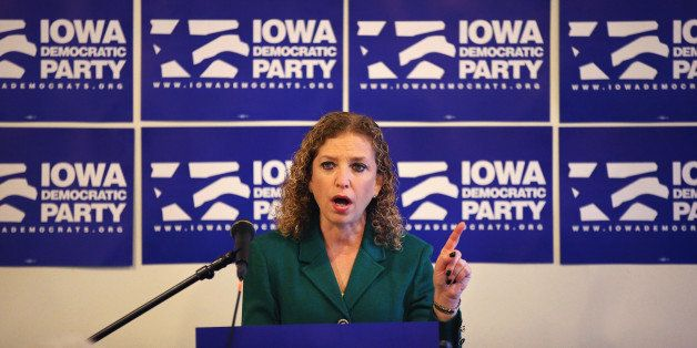 DES MOINES, IA - JANUARY 24: Chair of the Democratic National Committee Rep. Debbie Wasserman Schultz (D-FL) speaks to the pr