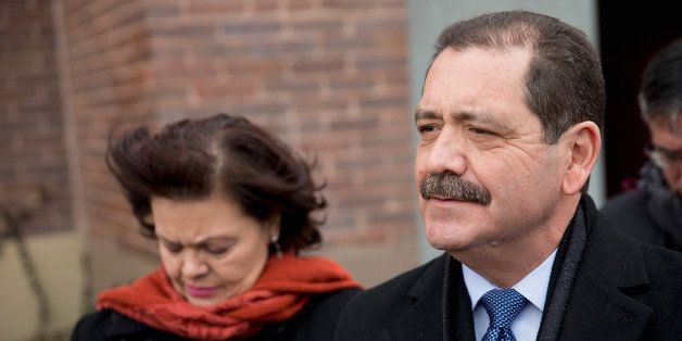 CHICAGO, IL - FEBRUARY 24:  With his wife Evelyn by his side, Chicago Mayoral candidate Jesus 'Chuy' Garcia speaks to the pre