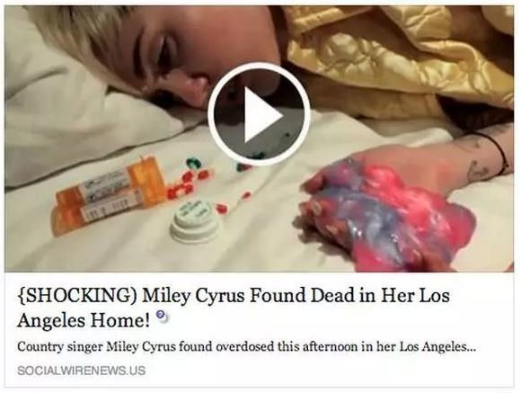 "After being the subject of a car crash death hoax in 2008, the ""Wrecking Ball"" singer fell victim to a Facebook scam alleging"