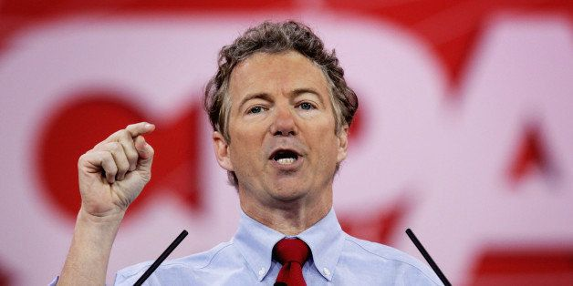 NATIONAL HARBOR, MD - FEBRUARY 27:  U.S. Sen. Rand Paul (R-KY) addresses the 42nd annual Conservative Political Action Confer