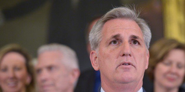 House Majority Leader Kevin McCarthy, R-CA, speaks during an event to urge US President Barack Obama to sign the  Keystone XL