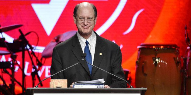 Rep. Brad Sherman speaks on stage at American Friends of Magen David Adom's Red Star Ball held at The Beverly Hilton on Thurs