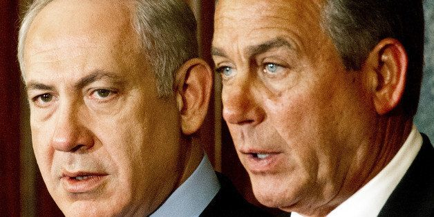 Israeli Prime Minister Benjamin Netanyahu(L) and US House of Representatives Speaker Johh Boehner(R-OH), deliver remarks to t