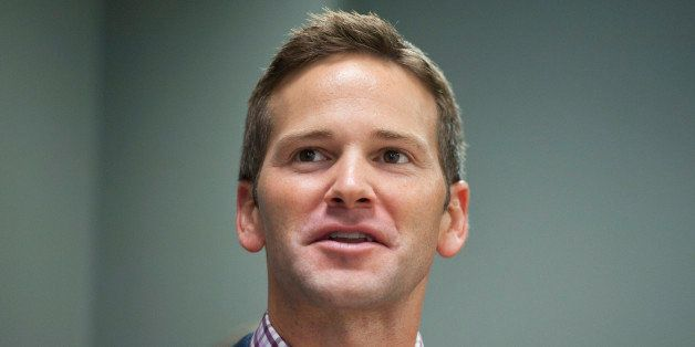 UNITED STATES - SEPTEMBER 22:  Rep. Aaron Schock, R-Ill.,  speaks before unveiling a portrait of former Senate Minority Leade