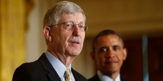 President Barack Obama listens as National Institutes of Health (NIH) Director Francis S. Collins speaks about the BRAIN (Bra