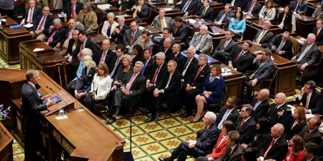 Gov. Bill Haslam delivers his annual State of the State address to the Tennessee Legislature, Monday, Feb. 9, 2015, in Nashvi