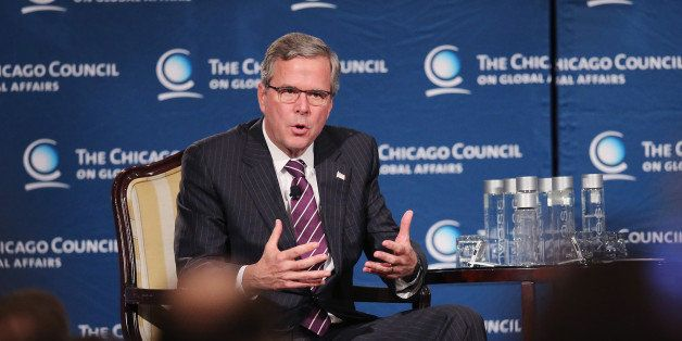 CHICAGO, IL - FEBRUARY 18:  Former Florida Governor Jeb Bush speaks to guests at a luncheon hosted by the Chicago Council on