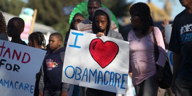 LOS ANGELES, CA - JANUARY 20:  Supporters of the Affordable Care Act (ACA) march in the 29th annual Kingdom Day Parade on Jan