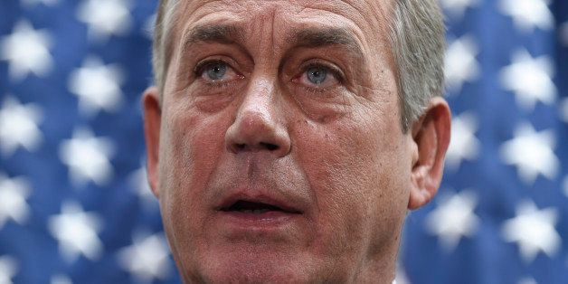 In this Feb. 25, 2014, photo, House Speaker John Boehner of Ohio speaks to reporters following a meeting on Capitol Hill in W