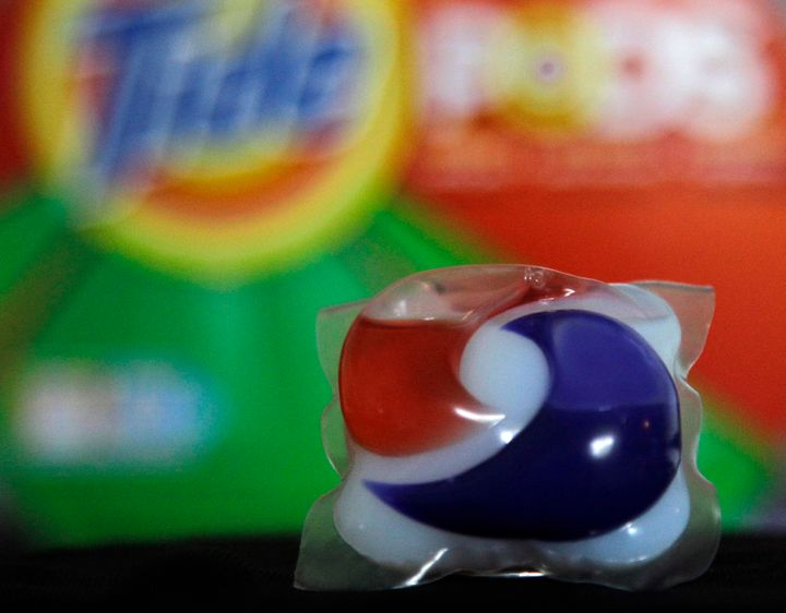 Laundry detergent makers introduced miniature packets in recent months such as this one photographed Thursday, May 24, 2012,