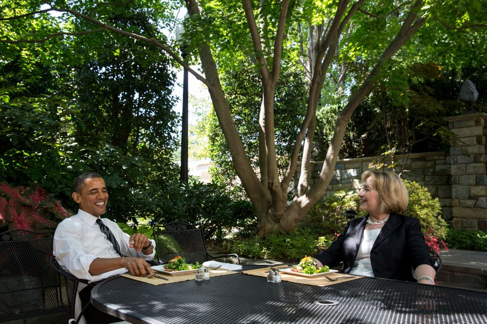 In this handout provided by the White House, President Barack Obama has lunch with former Secretary of State Hillary Rodham C