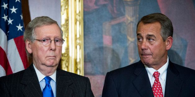 UNITED STATES - FEBRUARY 10: Senate Majority Leader Mitch McConnell, R-Ky., left, and Speaker of the House John Boehner, R-Oh