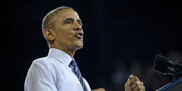 US President Barack Obama speaks at Georgia Tech on March 10, 2015 in Atlanta, Georgia. Obama spoke about making collage more