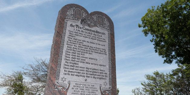 The Ten Commandments monument is pictured at the state Capitol in Oklahoma City, Friday, June 20, 2014. (AP Photo/Sue Ogrocki