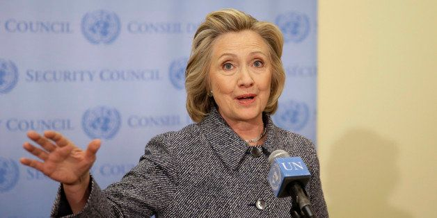 Hillary Rodham Clinton speaks to the reporters at United Nations headquarters, Tuesday, March 10, 2015.  Clinton conceded Tue
