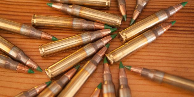 CHICAGO, IL - FEBRUARY 27: Green tipped armor-piercing 5.56 millimeter ammunition is shown on February 27, 2015 in Chicago, I
