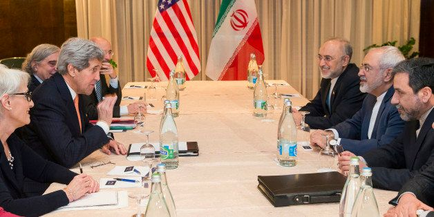 U.S. Secretary of State John Kerry, second from left, meets with Iranian Foreign Minister Mohammad Javad Zarif, second from r