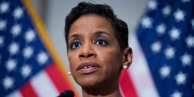 UNITED STATES - JANUARY 14: Rep. Donna Edwards, D-Md., speaks to the media after meeting of the House Democratic Caucus in th