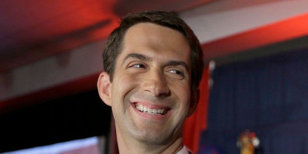 Rep. Tom Cotton, R-Ark. smiles at his election watch party in North Little Rock, Ark., Tuesday, Nov. 4, 2014, after defeating