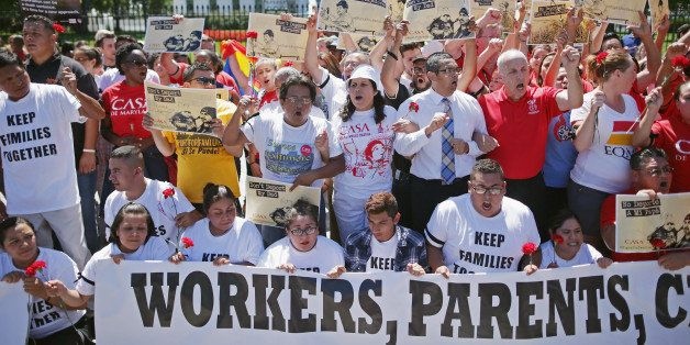 WASHINGTON, DC - AUGUST 28:  More than 300 demonstrators marched from the Immigration and Customs Enforcement headquarters to