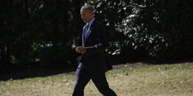 WASHINGTON, DC - MARCH 12:  U.S. President Barack Obama walks toward Marine One before departing the White House, March 12, 2