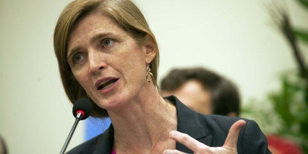 US Ambassador to the United Nations Samantha Power speaks during a press conference after a meeting with Haitian President Mi