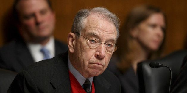 FILE - In this Jan. 29, 2014 file photo, Sen. Chuck Grassley, R-Iowa takes part in a hearing on Capitol Hill in Washington. A