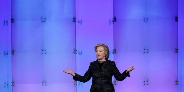 Hillary Rodham Clinton speaks during a keynote address at the Watermark Silicon Valley Conference for Women, Tuesday, Feb. 24
