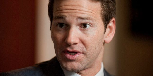 UNITED STATES - FEBRUARY 02:  Rep. Aaron Schock, R-Ill., is interviewed by Roll Call in his Longworth office.  (Photo By Tom