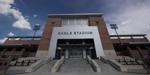 The front entrance of the new $60 million football stadium is shown at Allen High School Tuesday, Aug. 28, 2012 in Allen, Tex