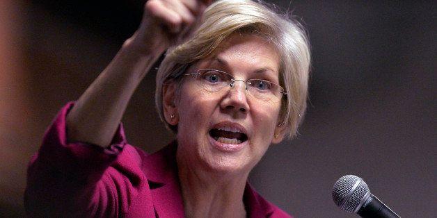 Massachusetts Senator Elizabeth Warren speaks to a rally of supporters of Kentucky senatorial candidate Alison Lundergan Grim