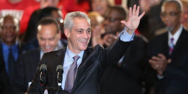 CHICAGO, IL - FEBRUARY 24:  Chicago Mayor Rahm Emanuel greets supporters at an election day rally February 24, 2015 in Chicag